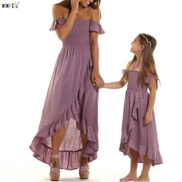 Mother Daughther Dress Off Shoulder Strapless Irregular Ruffles Beach Dresses Family Match Outfits Girl Clothes 3 4 5 6 7 8 Year J190517