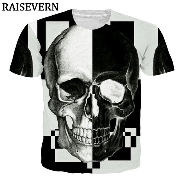 2019 Men T Shirts Skull Design Casual Tops Hipster Printed T-Shirt Tees 3D T Shirts Streetwear Poleras Hombre Unisex