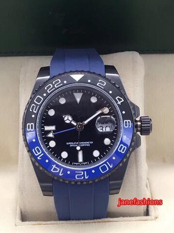 Reloj deportivo azul de caucho natural natural para hombre Reloj deportivo fino azul bisel cerámico negro y popular reloj mecánico automático