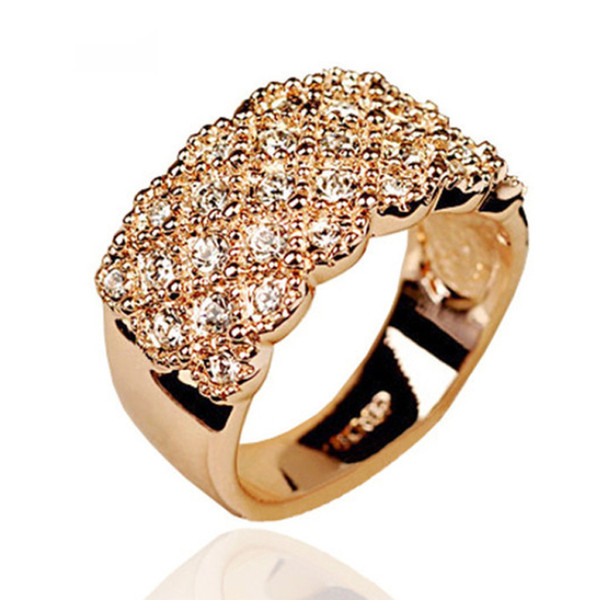 Fashion Unique style Crystal Gold Color Wide and Wild Shiny Party Wedding Bands Ring For women Jewelry Gift