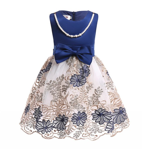 New Pearl chain Embroidered net yarn bowknot Boat Neck Sleeveless Girls Formal Wedding Party Dresses Kids Princess Christmas Dress costume