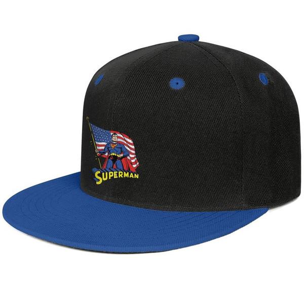 Superman American Flag Paint mens and women flat brim hats Blue cheap cool custom hats sports make your own fashion blank baseball uniqu