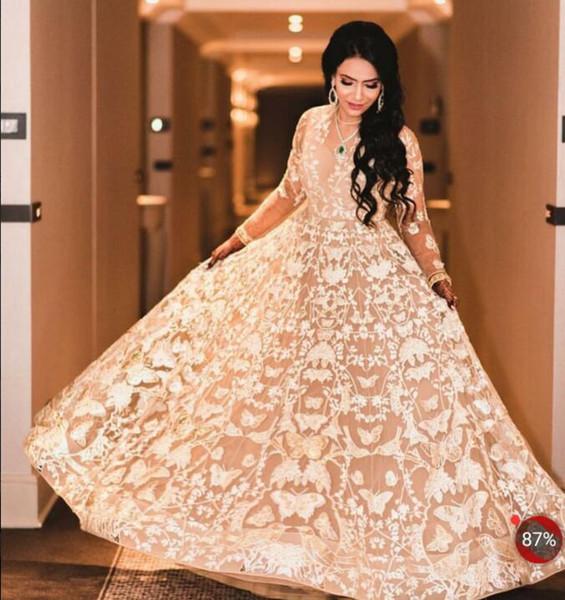 Evening dress Yousef aljasmi Labourjoisie Zuhair murad Ball Gown V-Neck Long Sleeve Tulle Lace Appliqued Nude Long Dress James_paul