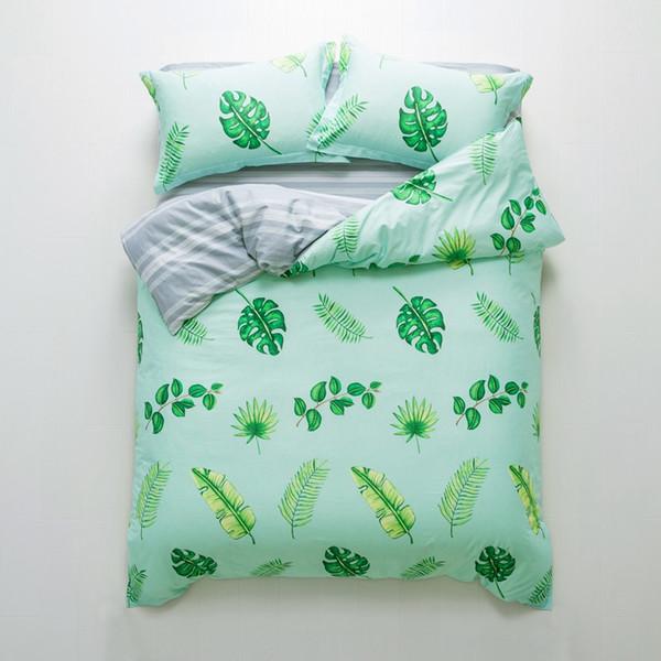 TUTUBIRD-100% pamuk yatak örtüsü çarşaflar yeşil palma ağacı yaprak baskı yatak brife pastoral çarşafları Kraliçe ikiz boyutu