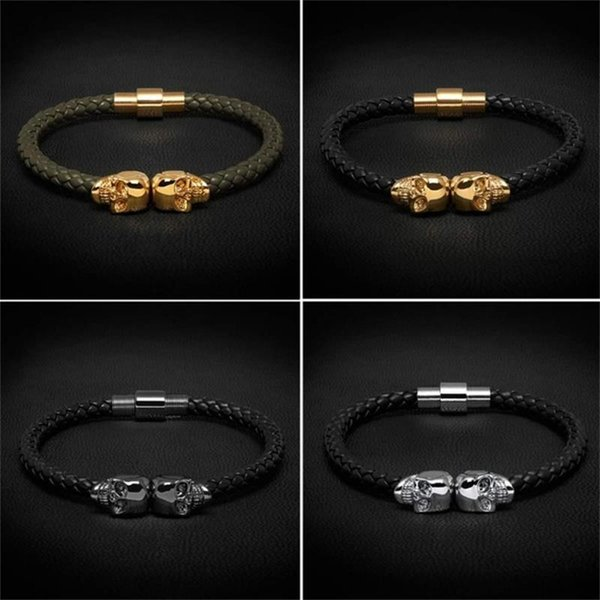 Beichong Mens Black Genuine Leather Braided Northskull Bracelet Men Stainless Steel For Women Gold North skull Bangle for women men