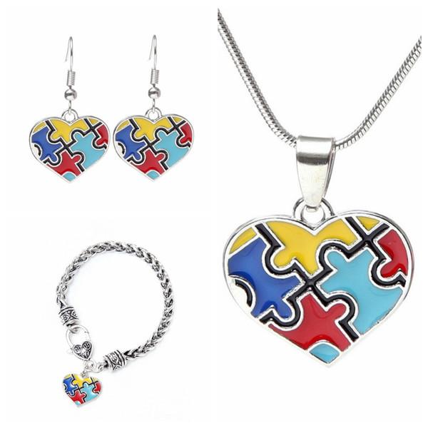 Bunte Herzform Anhänger Halskette Kreative Frau Multicolor Bild Puzzle Anhänger Halsketten Ohrringe Armband Schmuck Set TTA955
