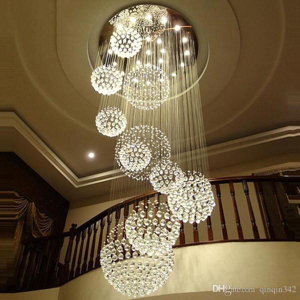 Lampadario moderno Grande luce di cristallo per scale Lobby Scale Foyer Long Spiral Lustre Lampada da soffitto Flush Mounted Scale Light