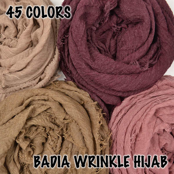 one piece women crinkle solid hijabs scarf oversize islam shawl head wraps soft long muslim frayed wrinkle cotton plain hijab