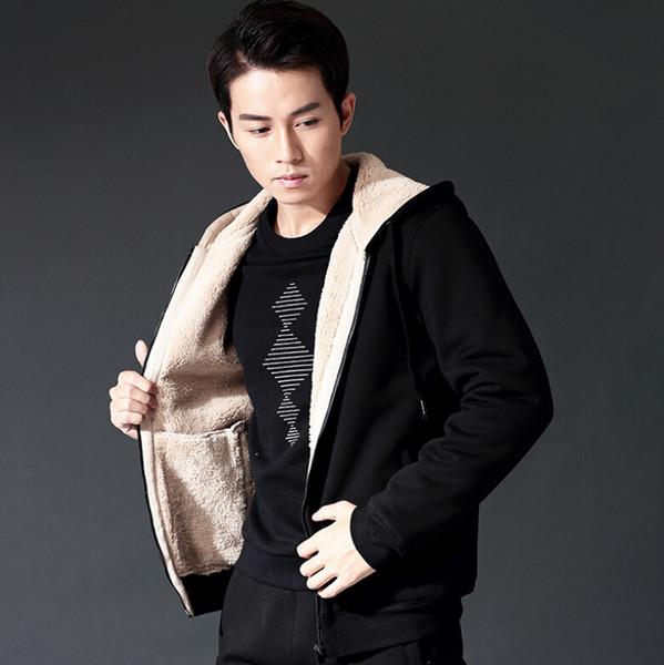 Hooded winter new men's casual plus velvet warm lambskin jacket hooded zipper jacket wholesale