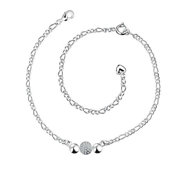 Zircon Anklets Three Balls Siver Plated Foot Bracelets Anklet Simple&Generous Classic S925 Silver Jewelry For Ladies Birthday Gift POTALA029