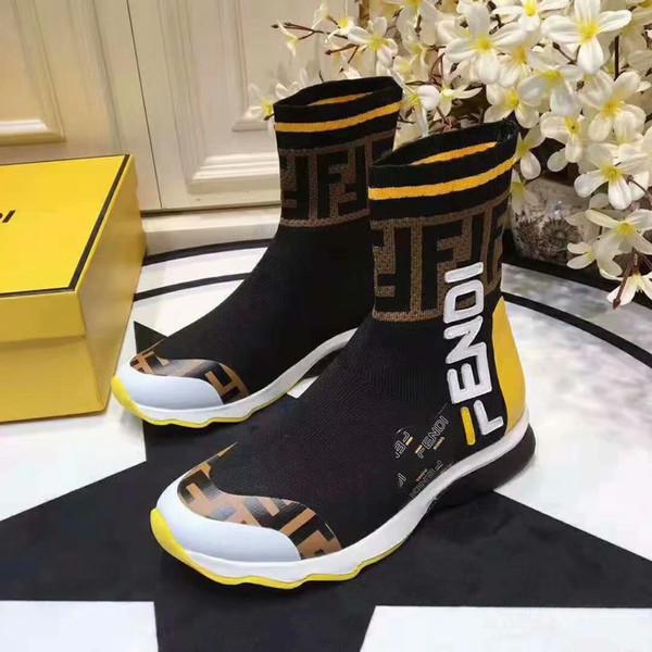 [Con la caja] 2019 Recién llegado de FF Zapatillas de deporte Diseñadores Zapatos Lujosos Hombres Mujeres High-Top Blanco Negro Calcetines ocasionales Zapatos deportivos Mocasines 35-45