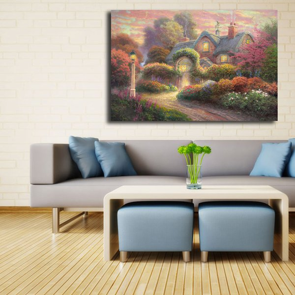 Rosebud Cottage Thomas Kinkade Wall Art Canvas Posters Prints Landscape Painting Wall Pictures For Modern Living Room Home Decor Framework