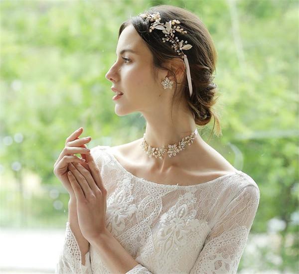 Süßwasser Perle Stirnband Hochzeit Braut Kristall Blatt Haarschmuck Schmuck Strass Krone Tiara Gold Kopfschmuck Ornament Kopfschmuck