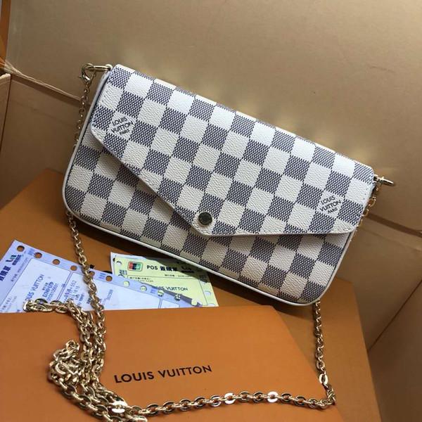 FELICIE de Orignal auténtico real de la moda de cuero del hombro de la cadena del bolso de presbicia bolsa de mensajero móvil de la tarjeta monedero Titular 6127 envío gratis