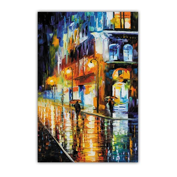 Unframed Landscape Wall Art Picture Canvas Printed Oil Painting for Living Room Home Decor City Street View Vertical High Quality