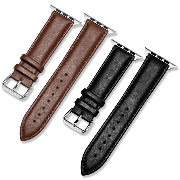 top popular Free Shipping Genuine Leather Strap Watch Bands For Apple Watch Iwatch 38mm 42mm series 1 2 3 Smart Watch strap 2020
