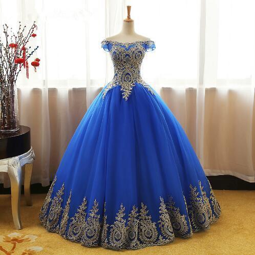 Aqua Blue Quinceanera Dresses Tulle With Gold Appliques Lace Sweet 16 Dresses Ball Gowns Vestidos De 15 Anos Debutante