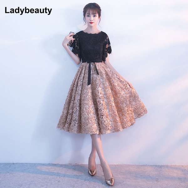 d069238db2 2019 Ladybeauty 2018 New Evening Dress Black With Khaki Color Lace Short  Prom Party Gowns Wedding Plus Dresses Y19051401 From Qiyue03, $66.64 | ...