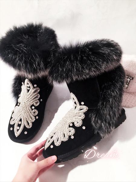 Strass de luxe Bottes De Fourrure D'hiver Dames Plat Chaud Chaussures À La Main Frange Neige Bottes Femmes Botines Noir Botas Mujer 2018