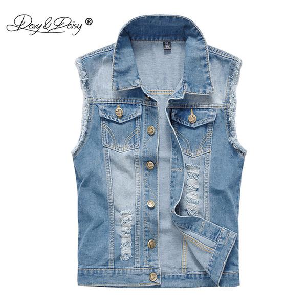 DAVYDAISY Denim Vest Men Washed Cowboy Sleeveless Jacket Vintage Street Hip Hop Ripped Men Jeans Waistcoat Plus Size 6XL DCT-073