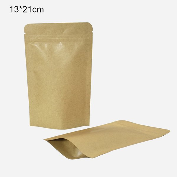 50Pcs 13*21cm Reusable Aluminum Foil Kraft Paper Food Storage Stand Up Mylar Foil Self Sealing Craft Paper Foil Packing Pouches with Notches
