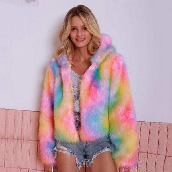 Eleganter bunter Pullover Faux-Pelz-Mantel für Frauen-Winter-warme beiläufige Outwear Hairy Fake Fur-Jacke verdicken Overcoat Plus Size