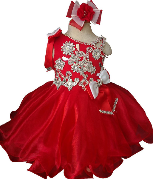 Малыш Красный Кекс Платья Маленьких Новорожденных Девочек Конкурсные Платья Дети Короткие Мини Вечернее Вечернее Платье Вечернее Платье