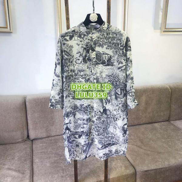 695e24940817 Camicia con stampa animalier della foresta dell inchiostro delle donne  Abiti Camicetta oversize con cintura Collo alto personalizzato con risvolto  Collo a ...