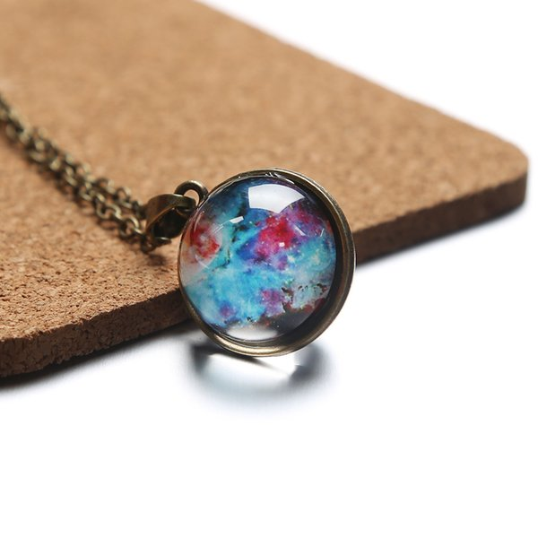 Time Gem Nebula Galaxy Planet Universe Necklace Double Sided Glass Ball Pendant Solar System Necklace For Women Kids Jewelry