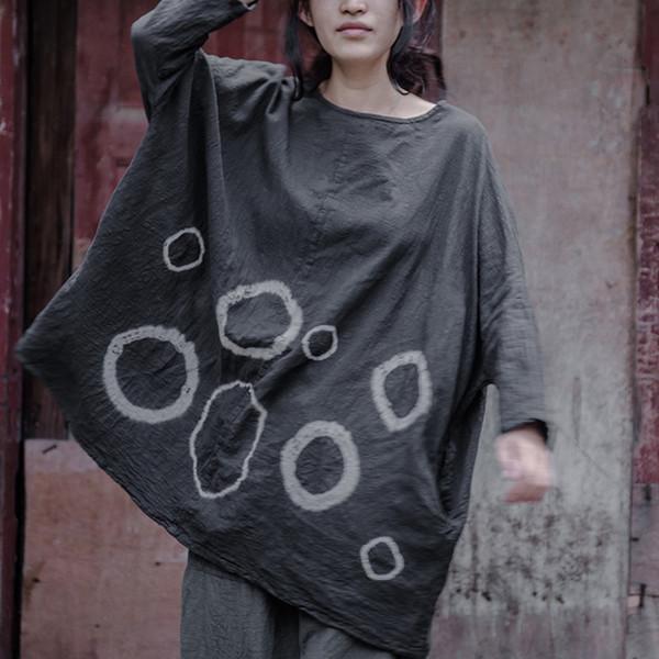 Johnature Kadınlar Artı Boyutu Gömlek O-Boyun Uzun Kollu Vintage 2018 Yeni sonbahar Kadın Pamuk Keten Gevşek Kravat Boya Daire Üst Y18122101