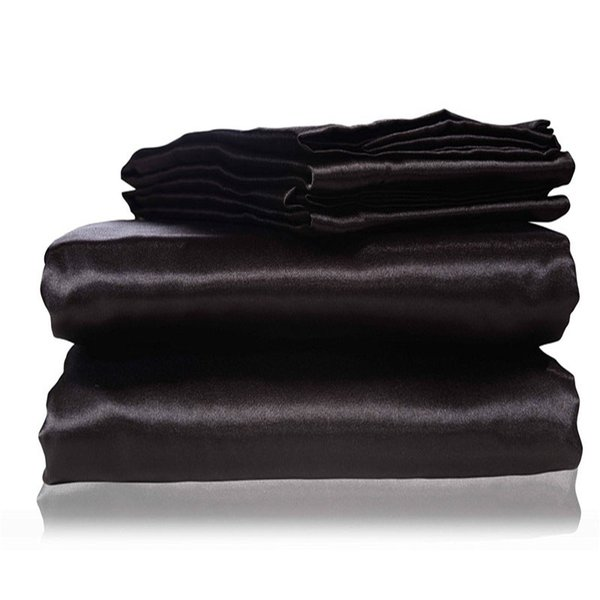 2018 new silk Flat Sheet Fitted Sheet Pillow Cases Twin Full Queen King Sizes Nestl Bedding Set with Deep Pocket Black15