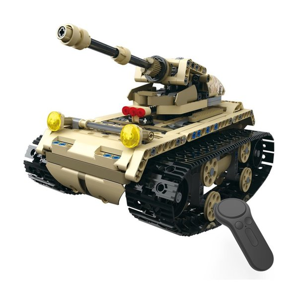 wholesale RC Tank 2.4G 4H USB Charging Building Block Simulated Light Track Tank Electric RC Car Model For Children