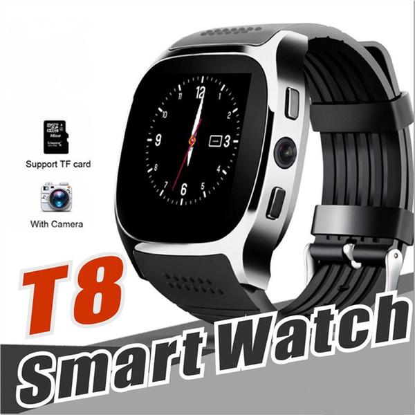 T8 Bluetooth Smart Watch Schrittzähler SIM TF-Karte mit Kamera Sync Call Message Smartwatch für Samsung Android Smartphone