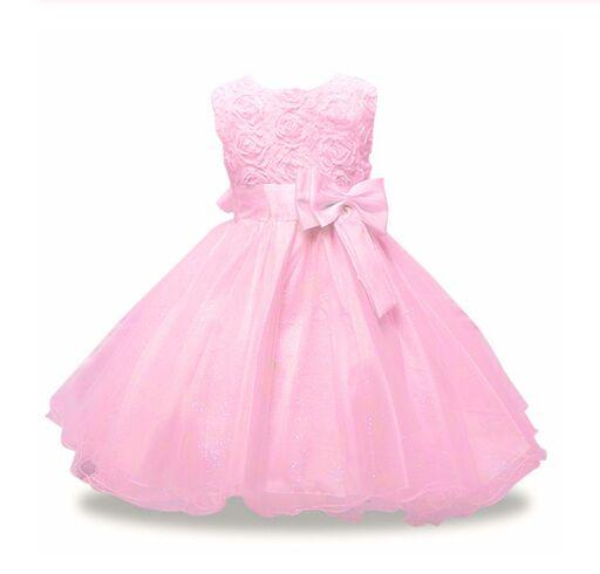 Girls Wedding Dress pink blue sleeveless Summer Princess Costume Kids Dresses For Girls Birthday Party Dress Girl Performance Dresses
