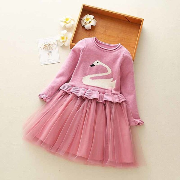 good quality Kids Girls Fashion Christmas Dress 2019 Winter Swan Pattern Dresses Long Sleeve Sweater tutu Dress Fit For 2-8Y Girls