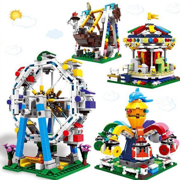 Los niños juguetes de bloques de construcción de la serie Parque de atracciones La rueda de la fortuna pulpo hilado merry go round barco pirata Bloques juguetes educativos