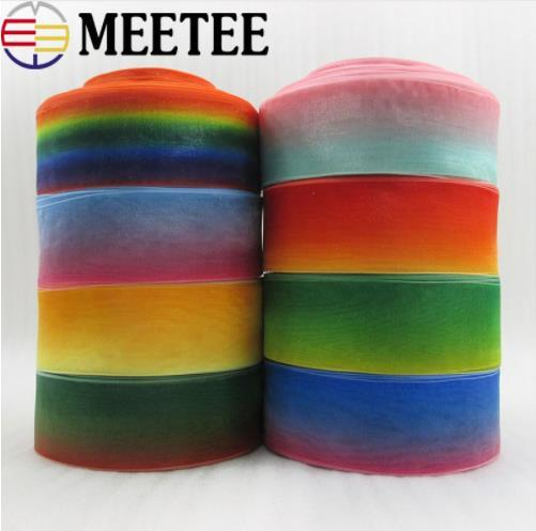 Meetee 38mm Organza Ribbon Christmas Wedding Gift Wrapping Decorative Ribbons Webbing DIY Hair Bow Hair Bow Accessories KY296