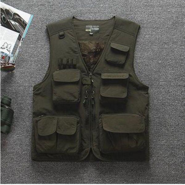 Winter Fleece Warm Multi-pocket Fishing Vest Summer Outdoor Climbing Thin Mesh Breathable Mens Tactical Sports Waistcoat Tops