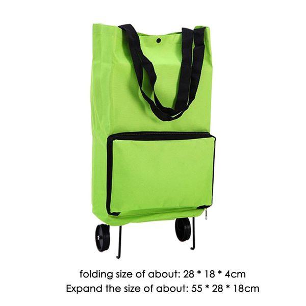 Vogvigo portátil Carrito de la compra bolsa con ruedas plegable bolsa carrito de compra bolsos plegables rollo de comestibles verdes