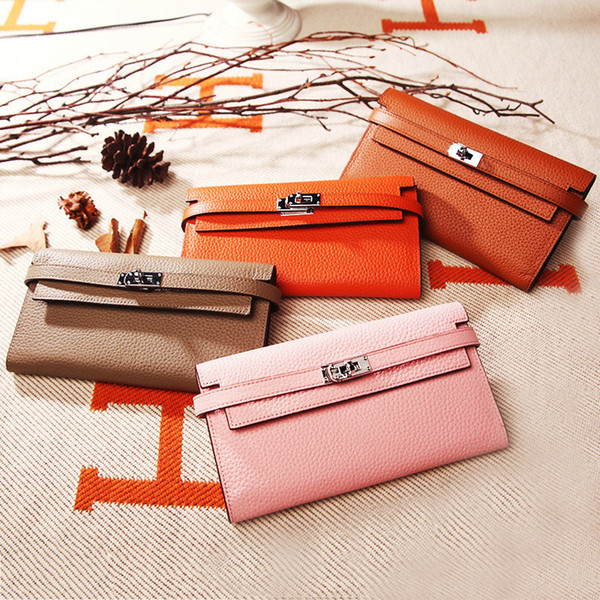 togo cow genuine leather fashion wallet brand women's money long luxury ladies purse high capacity change card holders