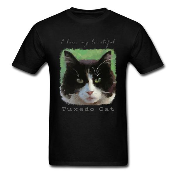 8b0a753ac Cat Lover T-shirt Men Black T Shirt Cotton Tops Tees I Love My Beautiful