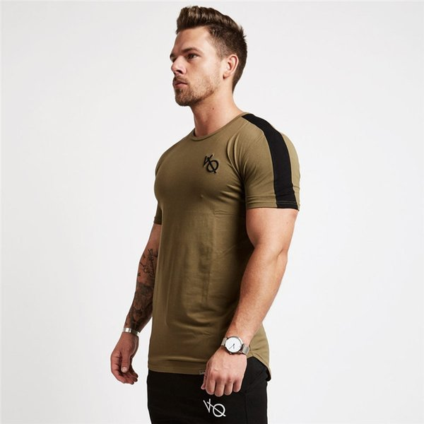 Cotton GYM Explosive trend Muscle Boy Brothers Fitness Basketball New Type 2019 Men Fitness Soft Elastic Round Collar Pure Tight Bodice