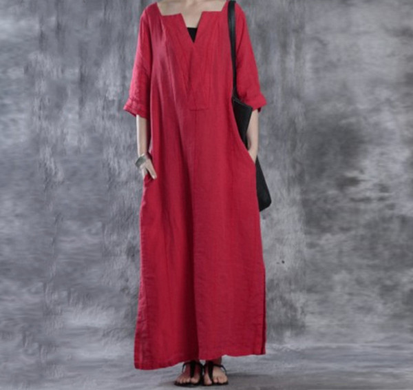 Simple design autumn women dresses V-neck long Dress ladies casual wear loose type cotton maxi dress half sleeve womens clothes size S-5XL