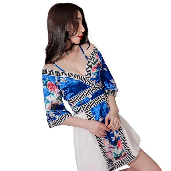 femmes robes occasionnels satin sexy uniforme kimono V imprimé cou hors dames de bretelles sangle d'épaule femme une ligne courte robe Slip Party Club