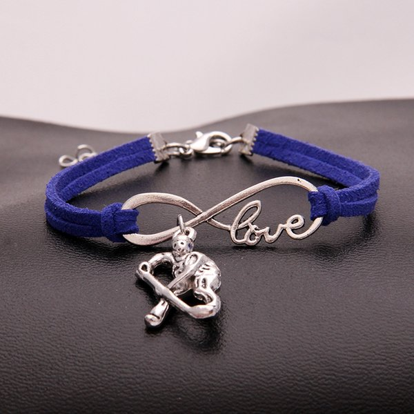 New Multilayer Dark Blue Leather Rope Charm Bracelets For Woman Men Vintage Silver Infinity Love Hockey player DIY Bangles Statement Jewelry