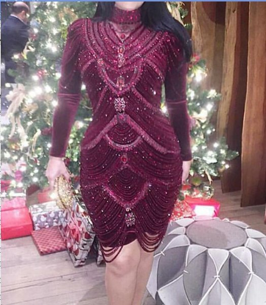 Evening dress Short dress Long sleeve Beaded Crystal High collar Zipper Tulle Sheath Classic Customizable in any size Modern 1557