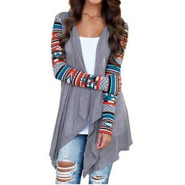 Hırka Kadın Sonbahar Çiçek Baskı Uzun Kollu Düzensiz Wrap Kimono Hırka Rahat Coverup Coat Dış Giyim Artı Boyutu S-5xl Tops