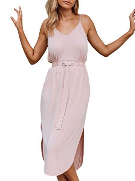 Youxiua Womens Spaghetti Correa Vestidos Sexy Summer V Cuello sin mangas Partido elástico con cordón Vestido Midi con bolsillos