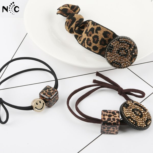 Leopard Print Smile Face Crystal Vintage Elastic Hair Bands Hair Ties For Kids Women Bows Rubber Band Rope Ponytail Holder