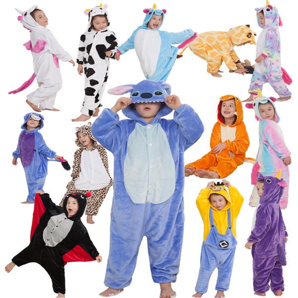 cute kids one-piece pajamas lovely cartoon unicorn style sleepwear for 3-10yrs children boys girls onesie pajamas night clothes